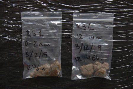 Bags with soil samples