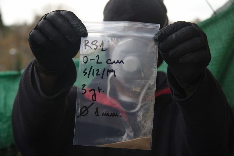 Dry sample in bag indicating date, layer and thickness of the sieve used