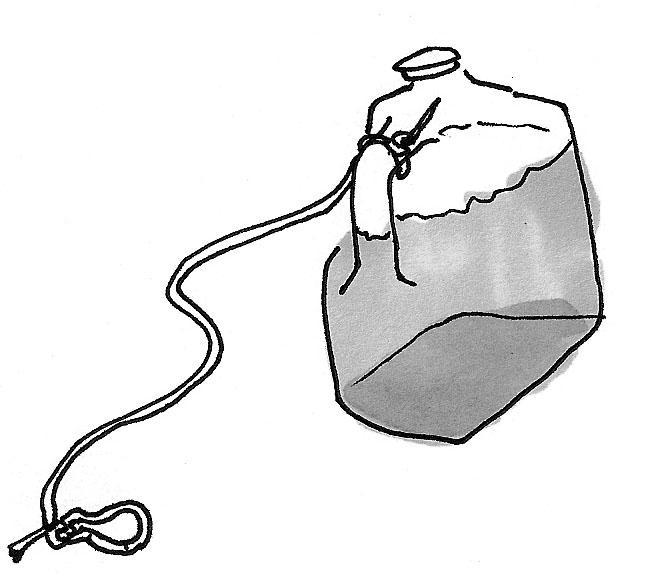 Emplea una garrafa para amarrar el globo antes de lanzarlo