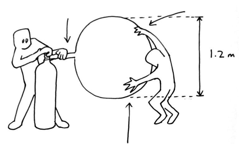 Una de las participantes debe sujetar el globo