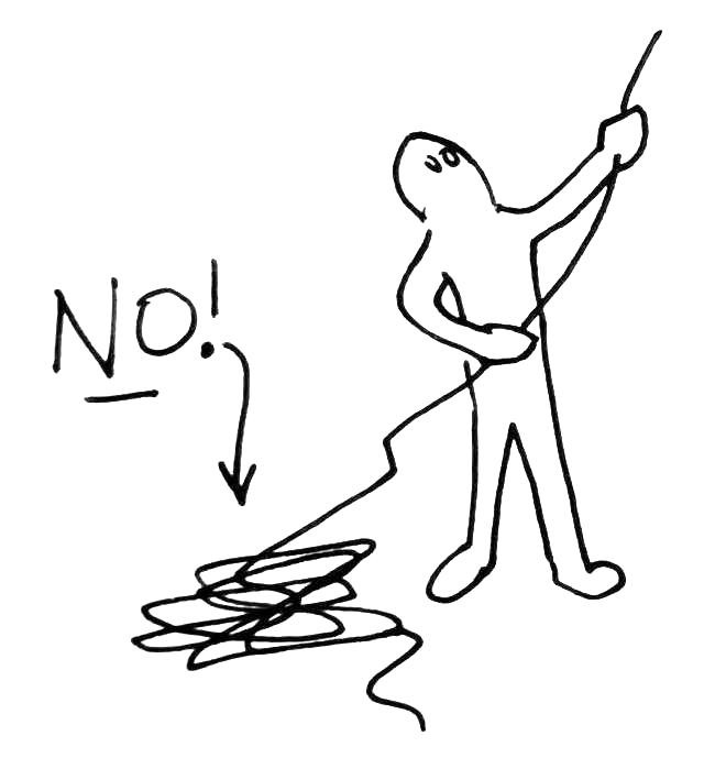 Evita que la cuerda se enrolle en el suelo