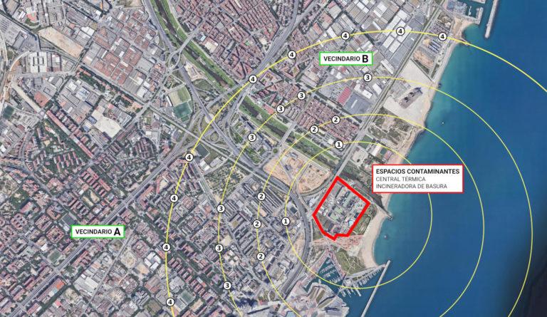 Imagen de la distribución perimetral alrededor de las instalaciones contaminantes