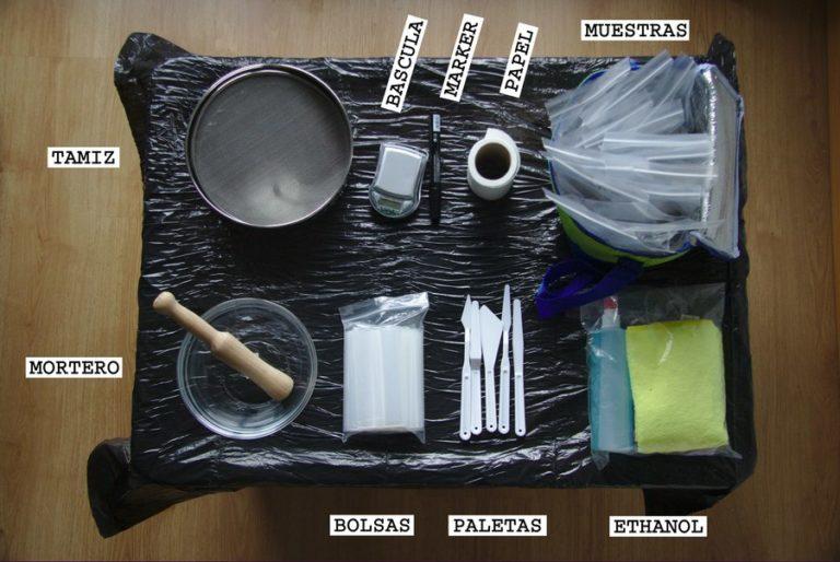 Materiales necesarios para la preparación de las muestras