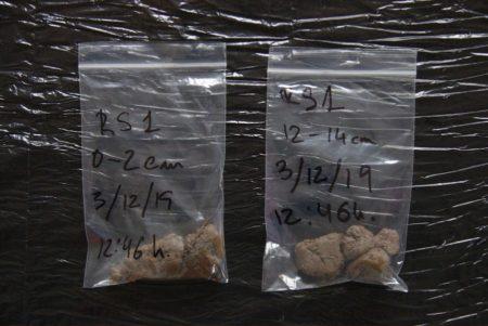 Bolsas con muestras de terreno
